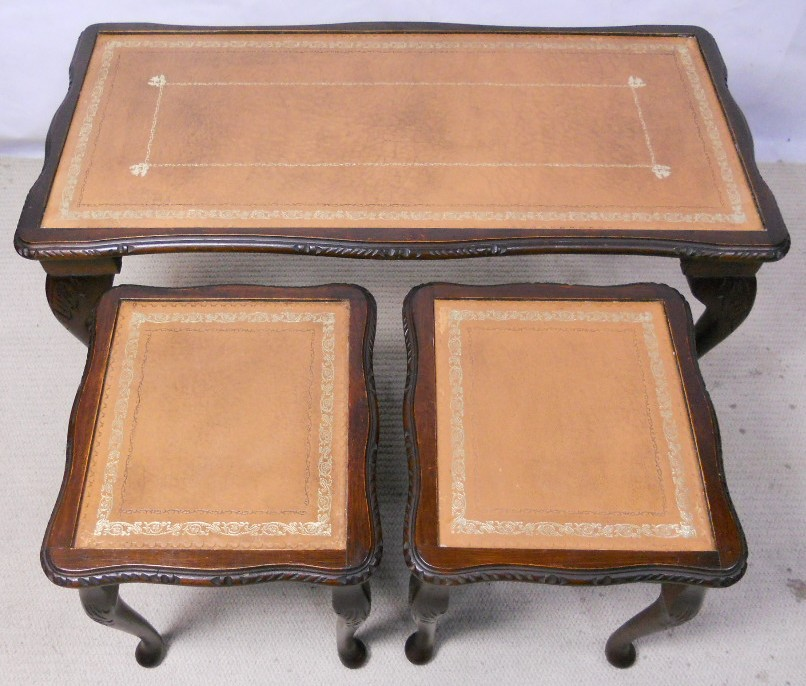 Coffee Table Glass Top Cover: Nest Of Three Mahogany Coffee Tables With Beige Leather
